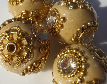10% off, 20mm Indonesian Chunky Beads, 4ct,Taupe Bead with rhinestone and gold accents, other colors available, I4001
