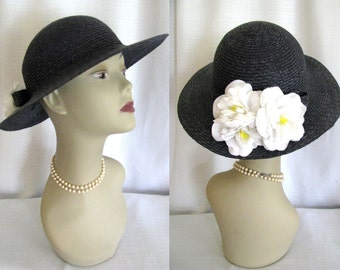 Vintage Wide Brim Straw Hat w/ Flowers Made in Italy