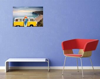 Hippie Van Surfboard Wall Decal - 10 x 20 inches