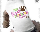 Dog Birthday Shirt - GIRLS Personalized Dog 1st Birthday Shirt