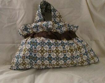 Cloth bag, multi-color - brown, blue, white, light olive green