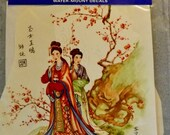 Beautiful - Vintage - Large Water Mount Decal - Oriental Asian Decor - Scene with Two Women Ladies - 2 Piece Set