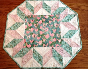 Table Topper, Quilted Table Topper, Handmade Table Topper, Batik Table Topper, Quilted Tablecloth
