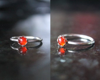 Carnelian ring, red chalcedony ring, sterling silver ring, princess ring, gemstone ring,hand forged ring,dainty ring,red ring, stacking ring