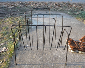 great shape vintage eames era 1950s mid century WIRE MAGAZINE NEWSPAPER rack stand