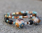 Bomb-Diggity Wire Bangled Bracelet - Quality Beads - Layered Look - Brown, Teal - Glass Beads
