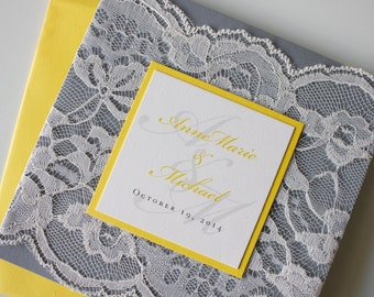 Beautiful Custom Lace Wedding Invitation in Gray, Yellow, Mustard & Ivory