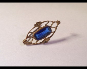 Blue Stone Filigree Gold Plated Brooch