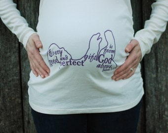 Perfect Blessings Maternity Shirt, maternity top, pregnancy shirt, pregnancy top, mom-to-be shirt, mom-to-be top, Christian maternity, white