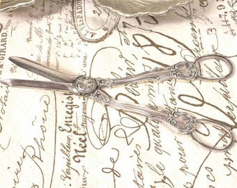 Vintage Silverplate Pair of Grape Shears Scissors - FREE Domestic Shipping - (Sale WAS 95.00)