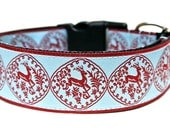 "Winter Dog Collar 1.5"" Christmas Dog Collar SIZE LARGE"