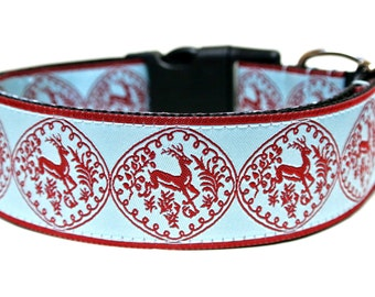 "Winter Dog Collar 1.5"" Christmas Dog Collar SIZE LARGE"