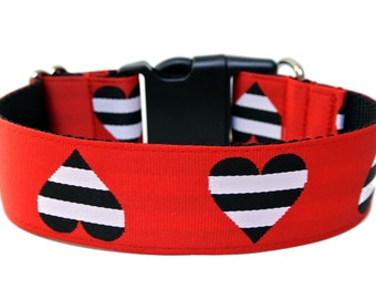 "Valentines Dog Collar 1"" or 1.5"" Heart Dog Collar"