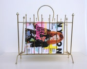 Vintage magazine rack holder, gold atomic  mid century modern decor