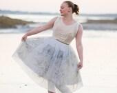 Alicia - Vintage 1950s Ivory & Gold Upcycled Short Wedding Dress/ Retro Party Dress/ Elopement Reception Dress/ Alternative Wedding Dress