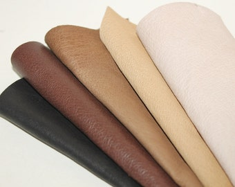 5pcs Leather Pieces Scrap Genuinr Leather , Mixed Colors Leather Offcuts