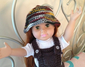 American Girl Doll Clothes 18 inch doll Slate colored Overalls with Rust, Gold and Grey multi Hat Ready to Ship