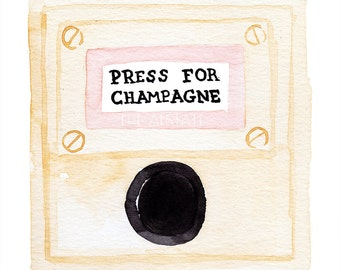 Press for Champagne Watercolor Giclee Fine Art Print Poster of Original Painting - Bar Cart Art, Cocktail Print, Drink Champagne and Dance