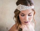 Beaded Rhinestone Bridal Headband, Ivory Pearls, beaded sash, Diamonds, wedding belt