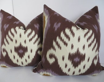 Pair Pillows - Set Pillow Covers- Purple Brown Pillow Covers- Pillow Covers Purple Pillows- Ikat Pillow covers- Accent Pillows-