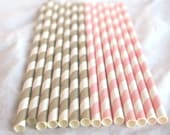 Pink and Gold paper straws- Weddings---showers---Parties---25ct with Free Printable diy Flags