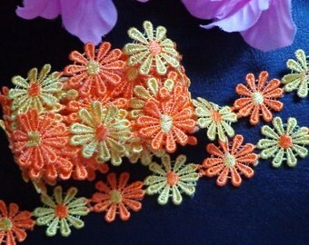 1 inch wide embroidered colorful daisy Lace trim 35 inch cut