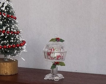 Fancy Christmas Candy Dish with Peppermints in 1:12 Scale for Dollhouse Miniature Holiday Sweets Shop