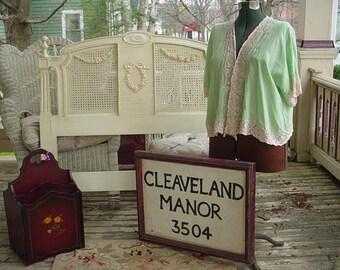 Vintage Sign Framed Cleaveland Manor Cottage Chic Home Decor