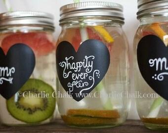 Mason Jar Labels, 24 Chalkboard Stickers for Weddings, Wedding Chalkboard Labels for Mason Jars, NON TOXIC Chalkboard Labels, Wedding Labels