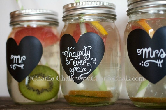 Mason Jar Labels, 24 Chalkboard Stickers for Weddings, Wedding Chalkboard Labels for Mason Jars, NON TOXIC Chalkboard Labels, Wedding Labels