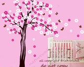 cherry blossom  tree decals kids wall decals baby nursery decals  pink white girl wall decor wall art- Cherry Blossom Tree with butterfly