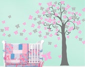 Kids wall decals buttrfly Tree decal wall stickers nursery decal wall murals graphic kids wall decor-lovely butterfly tree