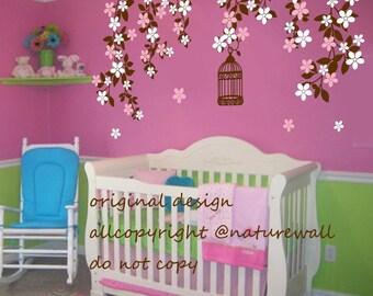 Nursery wall decals cherry blossom  tree decals kids wall decals baby nursery decals  pink white girl wall art- Cherry Blossom vines