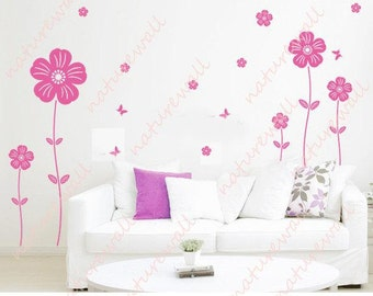 Flower  wall decals tree decals baby nursery kids room decor pink white girl wall decor wall art- lovely flowers