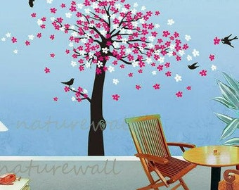 Cherry blossom Tree decals nursery wall decals kids wall art  pink white girl wall decor wall art- Cherry Blossom Tree with butterfly