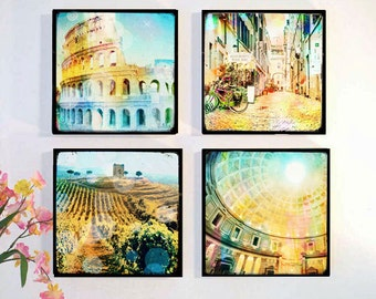 Rome Photography, Italy Photography, Wood Block Photo Set, Rome, Colloseum, Vintage Look
