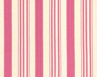 Barefoot Roses by Tanya Whelan Pink Ticking 1 Yard