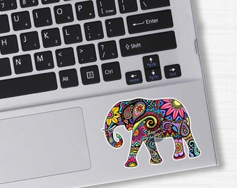 Small Elephant Laptop Decal Colorful Design Bumper Sticker Pink Green Teal Yellow Jungle Flowers Cute Car Decal Hippie Boho Tribal