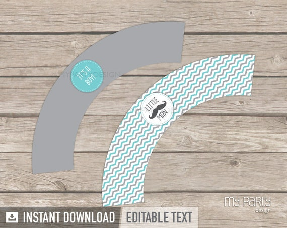 Mustache Cupcake Wrappers - Little Man Baby Shower Party - INSTANT DOWNLOAD - Printable PDF with Editable Text