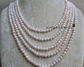 Long Pearl Necklace, 100 Inches 6-6,5mm Freshwater Pearl Necklace, White Pearl Necklace, wedding pearl necklace,wedding jewelry
