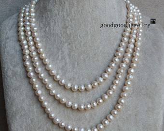 long pearl necklace, 60 inch 8-9mm ivory pearl necklace, genuine cultured freshwater pearl necklace, pearl long necklace,real pearl necklace