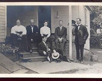 beautiful Family PORTRAIT sophisticated DRESS Black Lab Dog Vintage PHOTO pc postcard unused