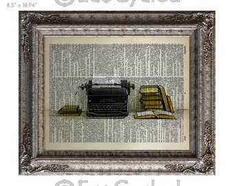 Typewriter and Books on Vintage Upcycled Dictionary Art Print Book Art Print Recycled Remington Writer Writing Author Reading Read Literacy