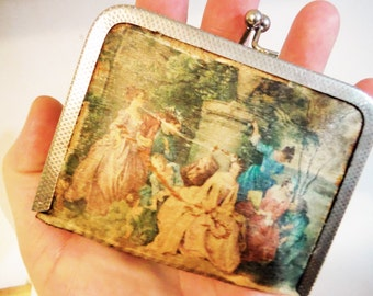 French coin purse silk lovers scene silver clasp shabby