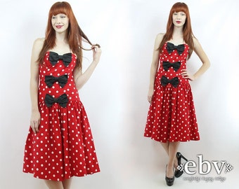 Vintage 80s Strapless Red + White Polka Dot Mini Dress S M Minnie Mouse Dress Polka Dot Dress Strapless Dress Summer Dress Halloween Costume