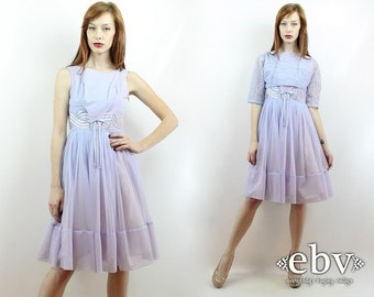 Vintage 50s Lavender Lace Party Dress XS S Prom Dress Cocktail Dress 50s Party Dress 50s Dress Lavender Dress 1950s Dress