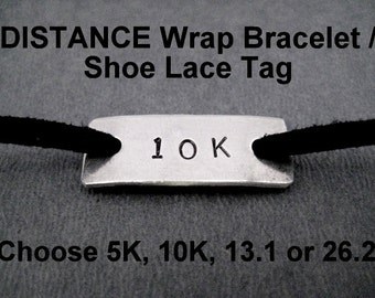 DISTANCE Runner Wrap Bracelet / Shoe Lace Tag - 5k, 10k, 13.1 or 26.2 - Nickel Silver Pendant on 3 feet of Micro Fiber Suede - Shoe Tag Wrap