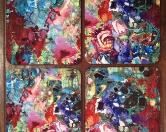 "Set of 4 ""Wildflowers"" Coasters"