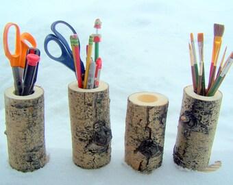 Aspen Wood pencil holder | Desk organizer