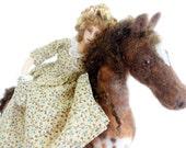 Appaloosa cloth art doll needle felted horse poseable soft creation home decor